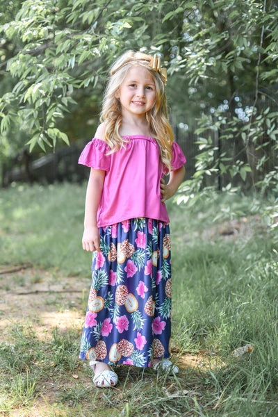 Tiki Hut Maxi Skirt Set - Orange Poppy Boutique