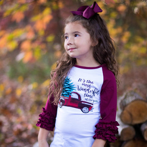 Most Wonderful Time Ruffle Raglan - Orange Poppy Boutique