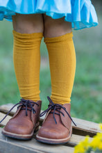 Load image into Gallery viewer, Cable Knee High Socks - Mustard - Orange Poppy Boutique