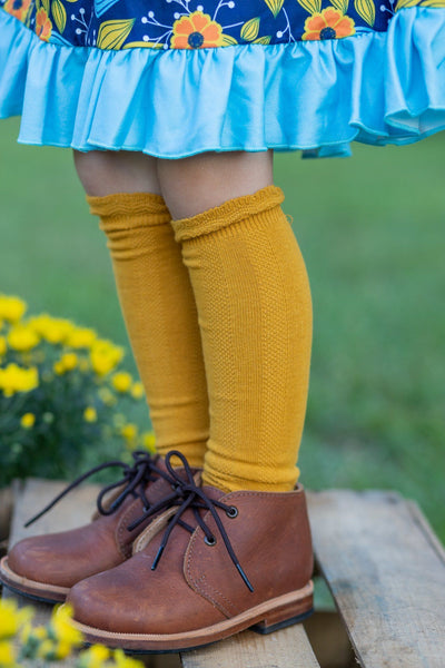 Cable Knee High Socks - Mustard - Orange Poppy Boutique
