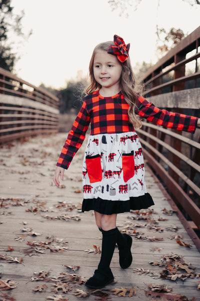 Lumberjack Christmas Dress - Orange Poppy Boutique