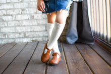 Load image into Gallery viewer, Cable Knee High Socks - White - Orange Poppy Boutique