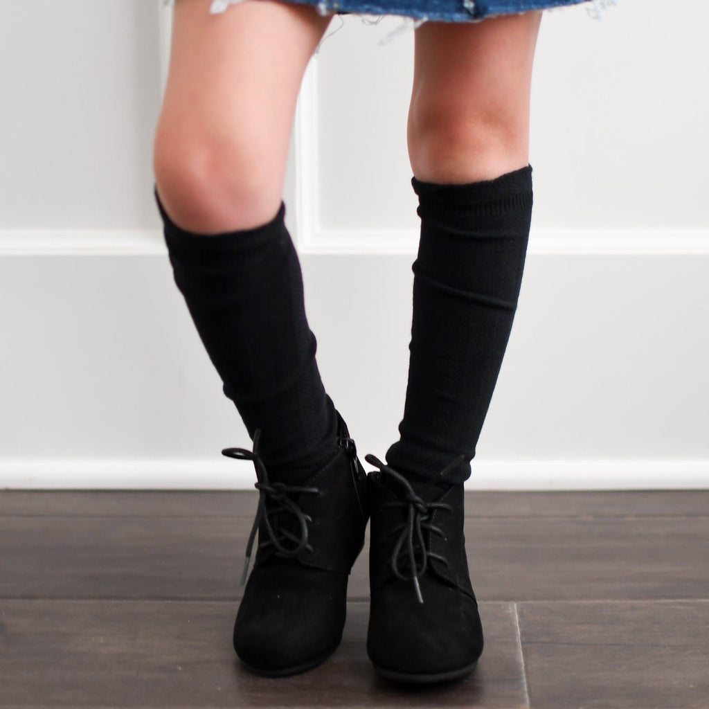 Cable Knee High Socks - Charcoal - Orange Poppy Boutique