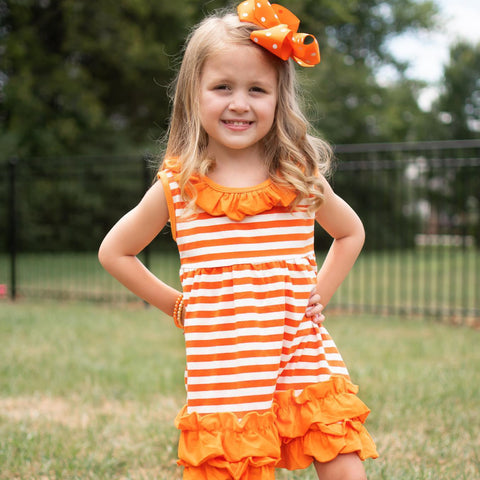 Orange & White Game Day Dress - Orange Poppy Boutique
