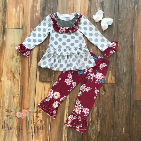 Burgundy Polkadot & Floral Pant Set - Orange Poppy Boutique