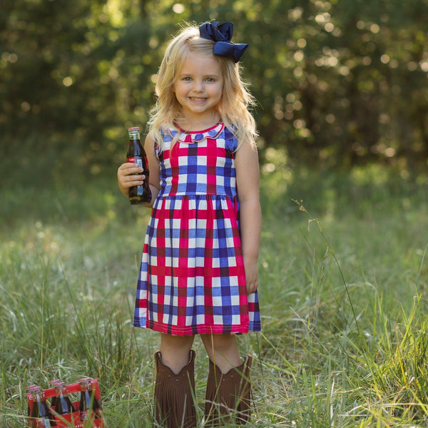 red, white and blue plaid girls 4th of July dress