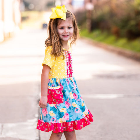 girls boutique floral dress yellow and pink