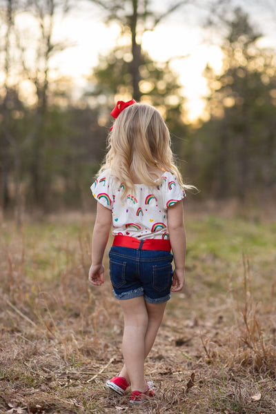 Over The Rainbow Denim Short Set - Orange Poppy Boutique