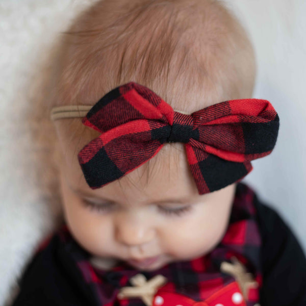 Red & Black Buffalo Check Nylon Headband Hairbow - Orange Poppy Boutique
