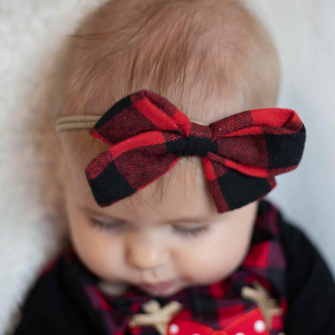 Red & Black Buffalo Check Nylon Headband Hairbow