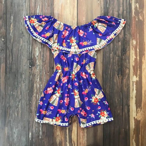 Boho Tribal Ruffle Shoulder Romper - Orange Poppy Boutique
