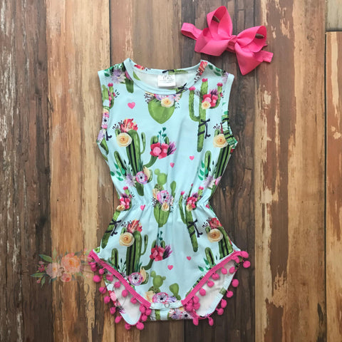 Cactus Cutie Pom Pom Romper - Orange Poppy Boutique