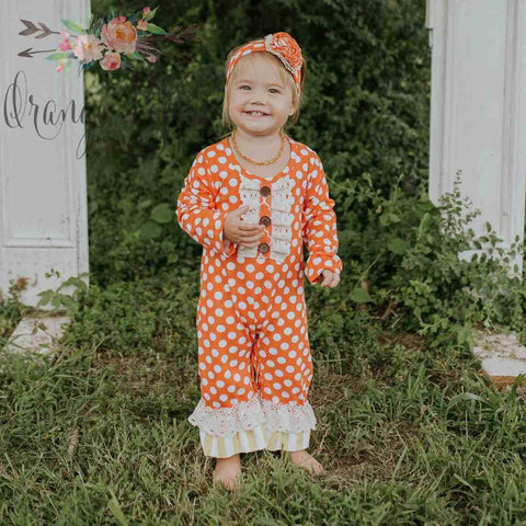 Madison Polkadot and Lace Romper - Orange Poppy Boutique
