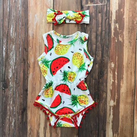 Summer Splash PomPom Romper Set - Orange Poppy Boutique