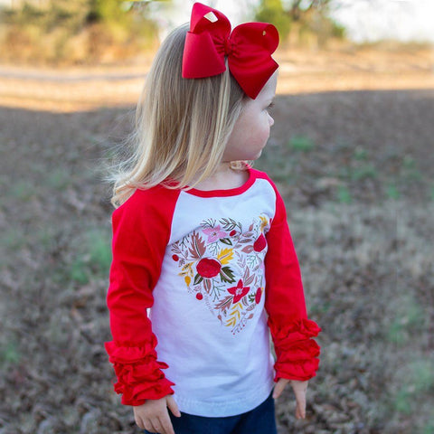 Roses Are Red Ruffle Raglan - Orange Poppy Boutique
