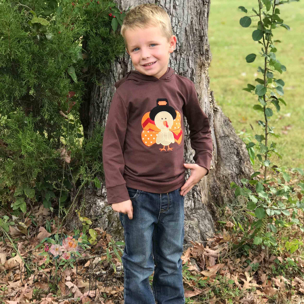 Boys Thanksgiving Turkey Hoodie - Orange Poppy Boutique