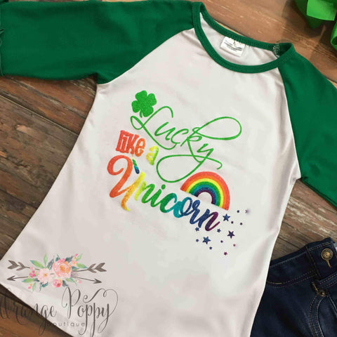 Lucky Like A Unicorn Ruffle Raglan - Orange Poppy Boutique