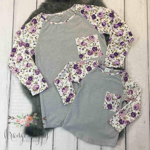 Women's Lilac Raglan Tee's - Orange Poppy Boutique