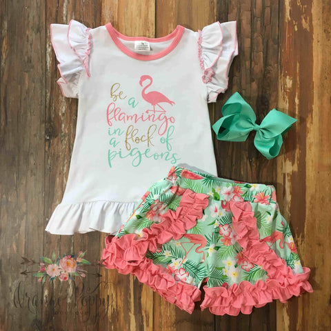 Be A Flamingo Ruffle Short Set - Orange Poppy Boutique