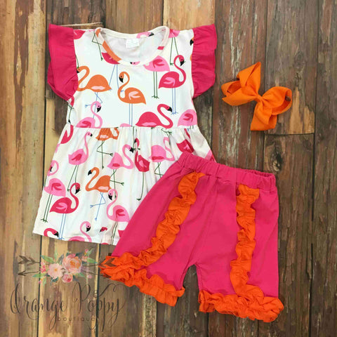 Flamingo Ruffle Short Set - Orange Poppy Boutique