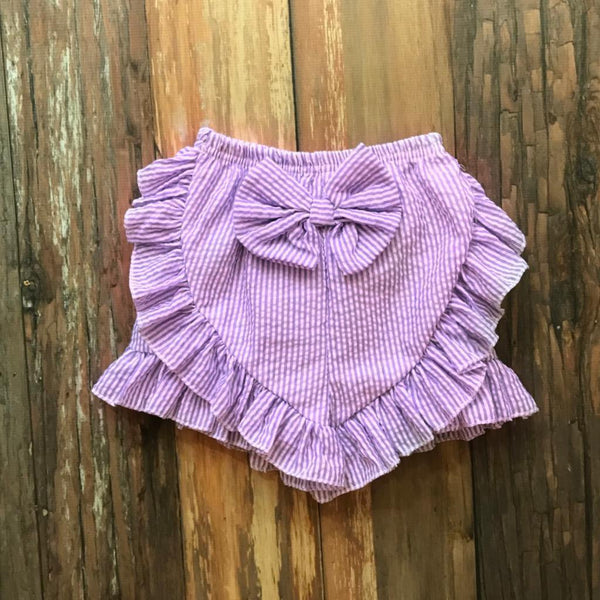 Seersucker Bow Shorts - Orange Poppy Boutique
