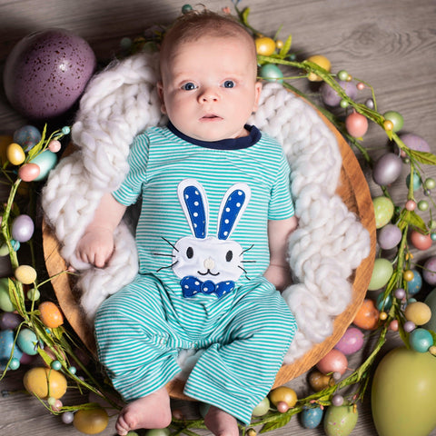 baby boy easter romper bunny outfit