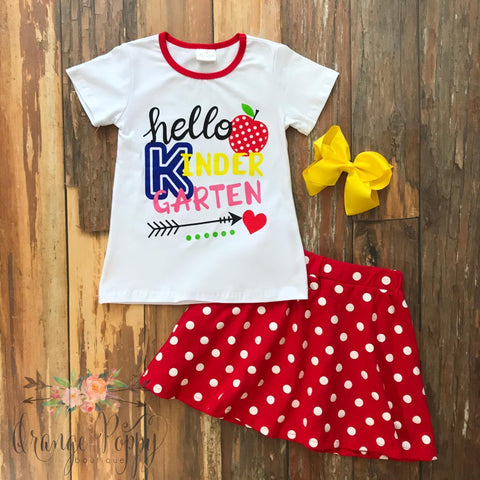 Hello Kindergarten Skirt Set - Orange Poppy Boutique