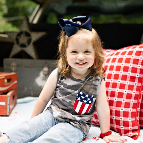 girls camo flag 4th of july shirt | Orange Poppy