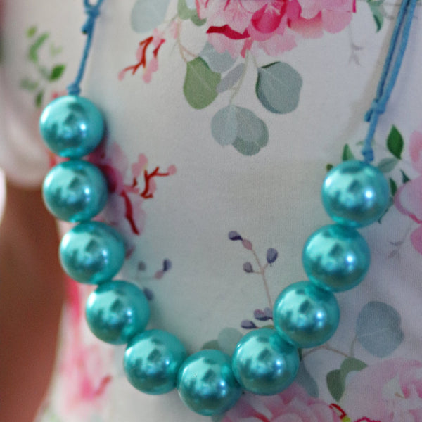 Adjustable Bead Necklace- Teal - Orange Poppy Boutique