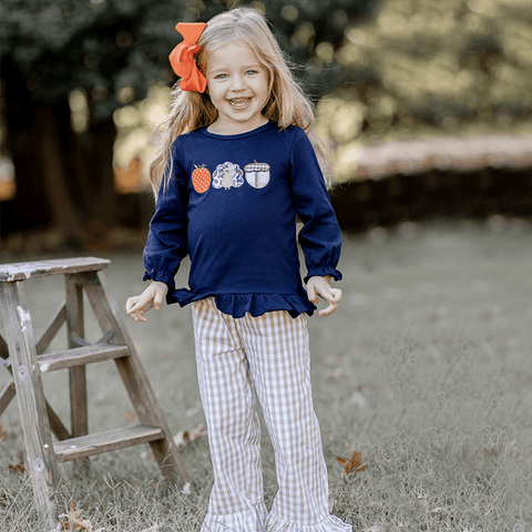 Thanksgiving Day Ruffle Pant Set - Orange Poppy Boutique