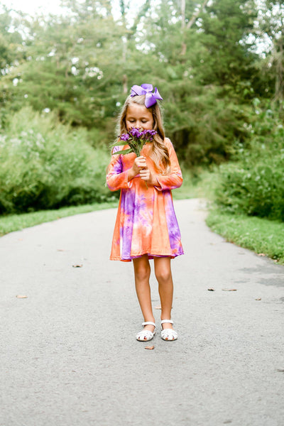 Tie Dye Twirl Dress - Purple & Orange