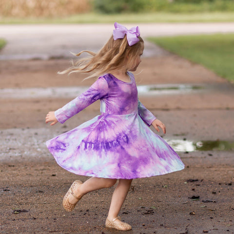 Tie Dye Twirl Dress - Purple & Aqua