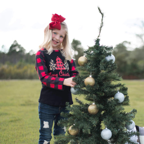 Tree Farm Ruffle Raglan - Red