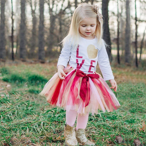Love Is Gold Tutu Set - Orange Poppy Boutique