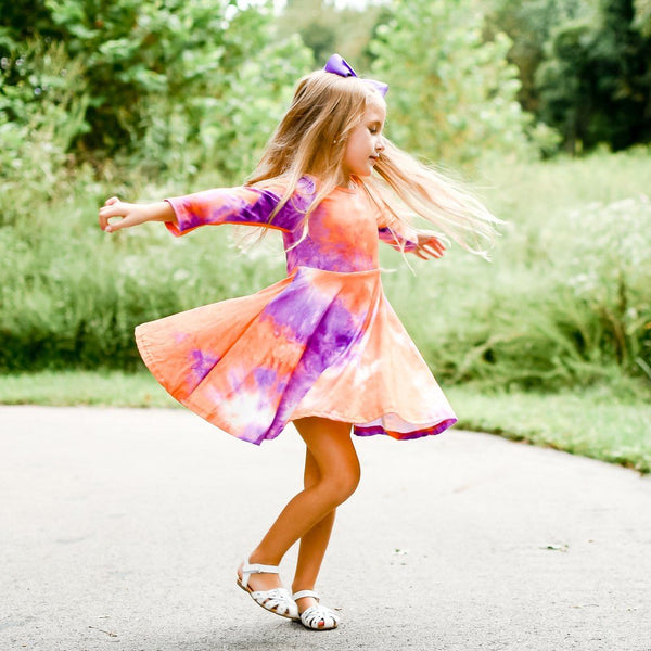 Tie Dye Girls Twirl Dress - Purple and Orange
