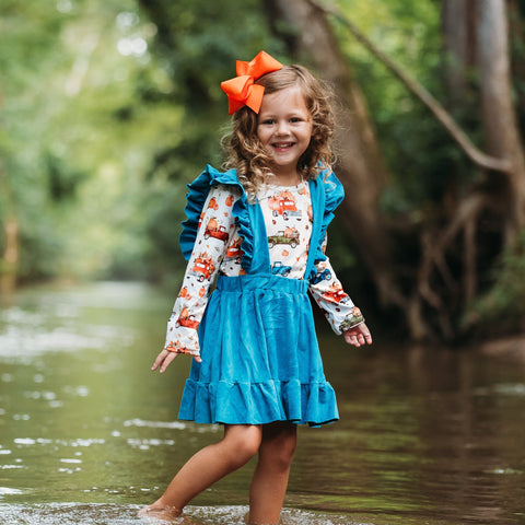 girls fall pumpkin dress outfit | Orange Poppy Childrens Boutique