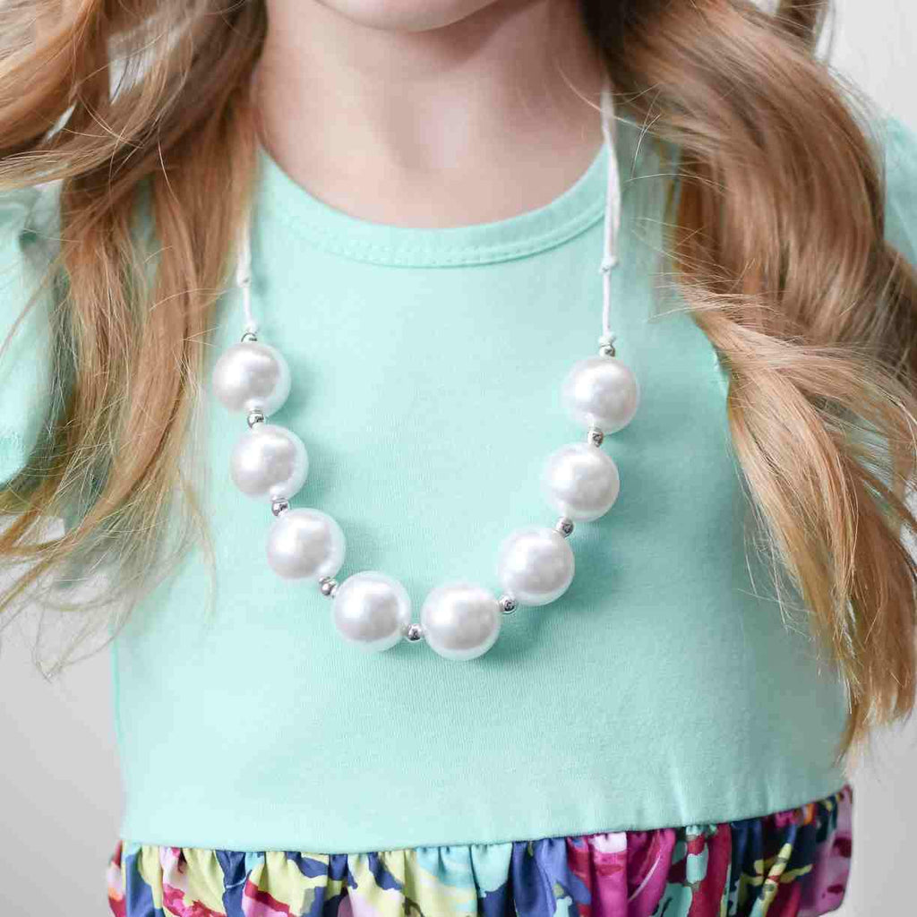 Adjustable Bead Necklace- Pearl White - Orange Poppy Boutique