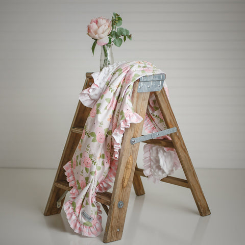 light pink buffalo plaid floral baby girl blanket