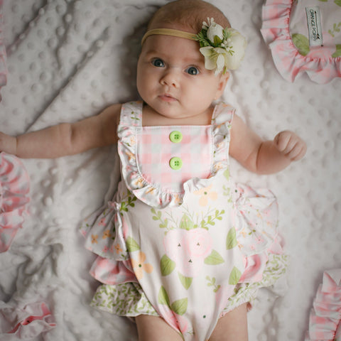 baby girl light pink and floral bubble romper | Orange Poppy Children's Boutique