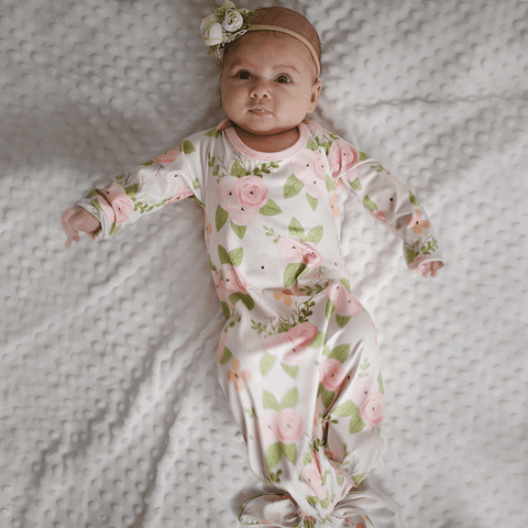 Waverly Meadow Tie-Bottom Baby Gown