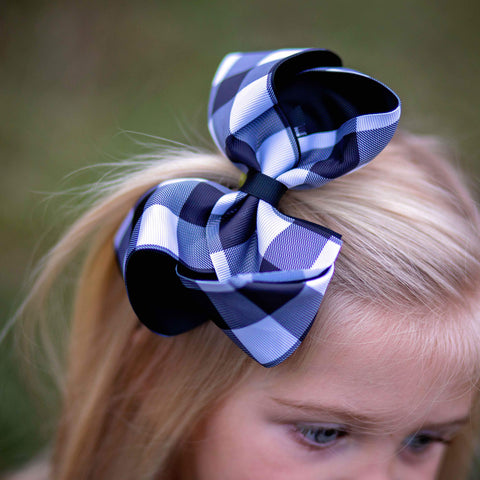 "White & Black Buffalo Check 6"" Hairbow - Orange Poppy Boutique"