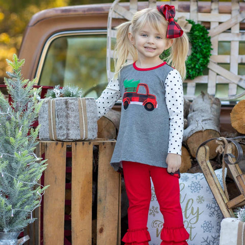 girls buffalo check christmas outfit with ruffle pants | orange poppy boutique