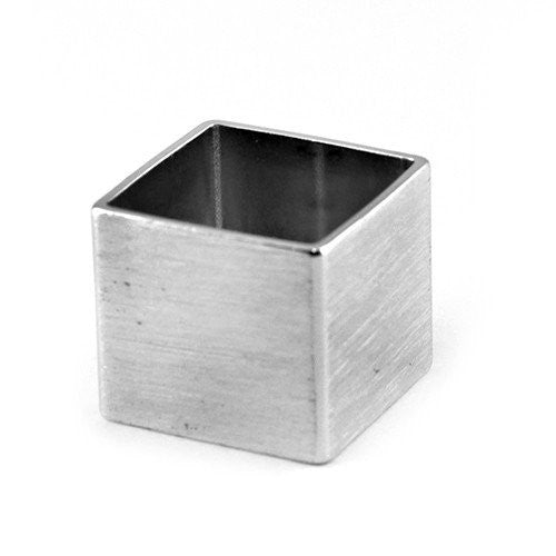 Brushed Metal Cube Ring - The Blue Attic