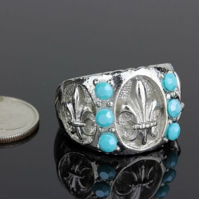 Bling Fleur De Lis Stretch Ring - The Blue Attic