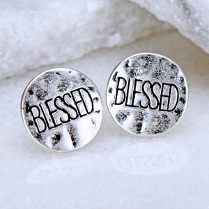 """Blessed"" Hammered Stud Earring Set - The Blue Attic"
