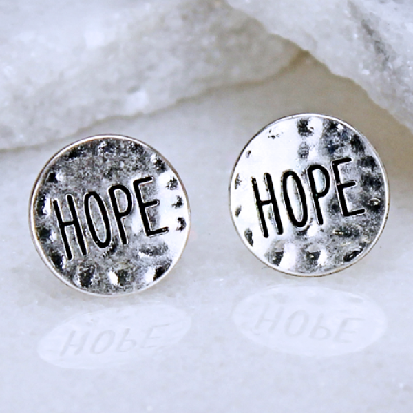 """Hope"" Hammered Metal Stud Earrings - The Blue Attic"