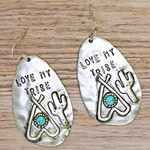 """Love My Tribe"" Fishhook Earrings - The Blue Attic"