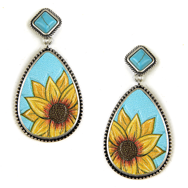 Leather Sunflower Style Earrings