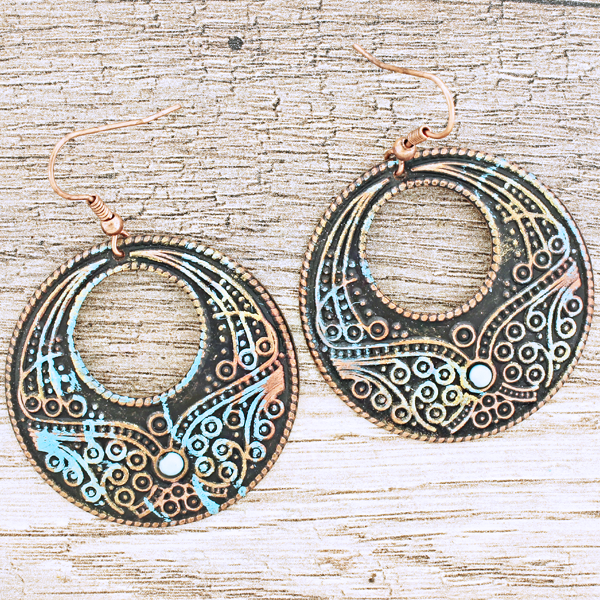 Engraved Floral Fishhook Earrings - The Blue Attic