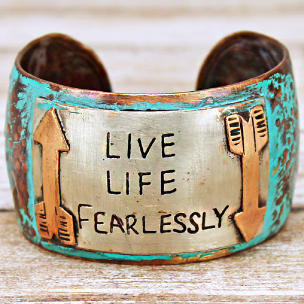 """Live Life Fearlessly"" Cuff Bracelet - The Blue Attic"